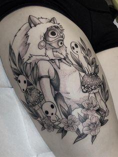 Ramón on - Blayne Bius > Princess Mononoke - Tatuaje Studio Ghibli, Studio Ghibli Tattoo, Tattoo Studio, Miyazaki Tattoo, Body Art Tattoos, Sleeve Tattoos, Tatoos, Tattoo Modern, Poke Tattoo