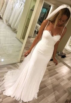 Mermaid Spaghetti Straps Long Beach Wedding Dress with Lace M3192