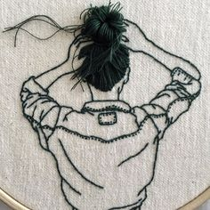 Sheena Liam _______ism on instagram - embroidery art hair detail #embroidery #embroideryhoop #embroideryart #handembroidery