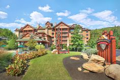 The exterior of Bearskin Lodge on the River in gorgeous Gatlinburg, TN! www.thebearskinlodge.com