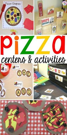 Pizza themed math literacy fine motor art and sensory centers for preschool pre-k and kindergarten. Preschool Centers, Preschool Themes, Preschool Lessons, Preschool Classroom, Toddler Preschool, In Kindergarten, Learning Activities, Preschool Activities, Nutrition Activities
