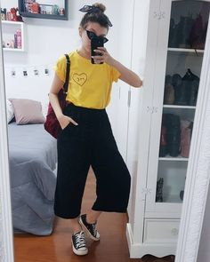 pantacourt, yasmim fassbinder, lenço, all star, converse Simple Outfits, Trendy Outfits, Trendy Fashion, Cool Outfits, Summer Outfits, Korean Fashion, Fashion Looks, Hijab Fashion, Fashion Outfits