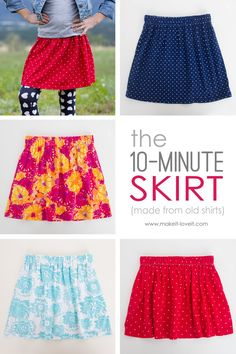 Learn how to make this 10-Minute Skirt from re-purposing old shirts