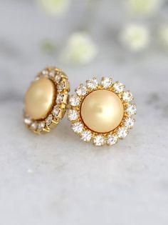 Buy Now Pearl Studs Yellow Pearl earrings Yellow Pearl. Gold Jhumka Earrings, Cream Earrings, Pearl Stud Earrings, Pearl Studs, Bridesmaid Earrings, Bridal Earrings, Bridal Jewelry, Yellow Pearl, Accessories