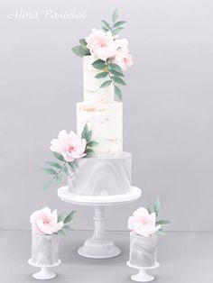 White and marble gray wedding cake Textured Wedding Cakes, Floral Wedding Cakes, Elegant Wedding Cakes, Beautiful Wedding Cakes, Beautiful Cakes, Fondant Lace, Black Fondant, Fondant Wedding Cakes, Rehearsal Dinner Cake