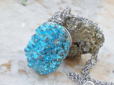 Sky Blue Agate Titanium Druzy Wire Wrapped Necklace by IsamarML, $22.00