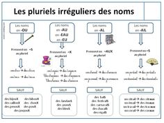 French / grammar / irregular plurals and exceptions French Nouns, French Grammar, French Adjectives, French Teacher, Teaching French, Test B1, French Basics, French Tips, Irregular Plurals