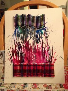 Melted crayon art - pinks and blues