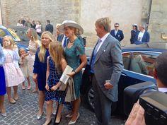 King Willem-Alexander, Queen Máxima and princesses Amalia, Alexia & Ariane in Parma for christening of Prince Carlos de Bourbon de Parme. Parma, Italy. 25 september 2016.