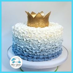 Pretty and delicate ombre ruffle buttercream party cake! You select the color and the flavor - we take care of the rest. Makes a great smash cake. Blue Birthday Cakes, Boys First Birthday Cake, Boys Bday Cakes, Birthday Ideas, Prince Cake, Prince Party, Ruffle Cake, Cake Flavors, Cake Smash