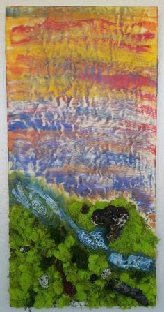 Encaustic Painting by Michelle Carpenter #Detroitartist #mixedmedia #encaustic #abstraction #moss #artist #landscape #faeryworld #river #colors