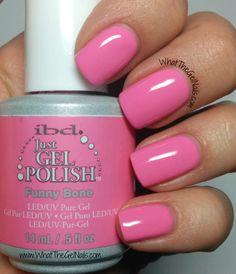 IBD Funny Bone plus more pink IBD gel nail polish colors.