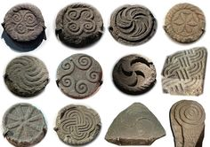 Selection of carvings from the Castro de Santa Tegra, A Guarda, Galicia. ~ Celtic culture of the northwestern regions of the Iberian Peninsula- present-day northern Portugal / Spanish regions of Galicia, Asturias and NW León - from the end of the Bronze Age (c. 9th century BC) until it was subsumed by Roman culture (c. 1st century BC).