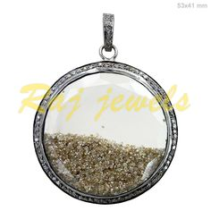 Natural Pave Diamond Shaker Pendant Gemstone Designer Sterling Silver Jewelry #Handmade