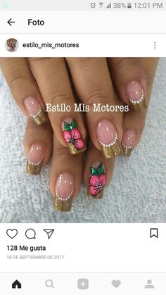Uñas Pretty Nail Art, Cute Nail Art, Cute Nails, My Nails, French Nail Art, French Tip Nails, Fabulous Nails, Gorgeous Nails, Nail Tip Designs