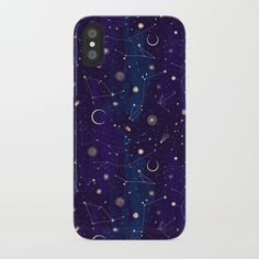 Night of a Thousand Moons iPhone Case by lillabolecz Science Gifts, Space Theme, Iphone 7 Cases, Phone Case, Apple Products, Purple Gold, Plastic Case, Constellations, Personal Style