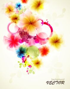 Shiny Colorful flower background vector 02