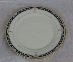 White with Blue and Gold Rim, Pink Flowers Lenox Palmyra Dinner Plate by MendozamVintage on Etsy