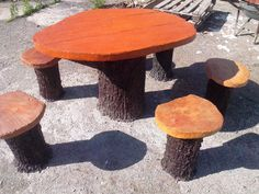 Table and chairs - made out from concrete - rustique