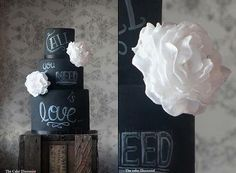 the cake illusionist | wedding cake, black wedding cake, chalk board cake