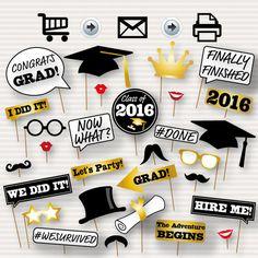 Graduation Photo Booth Printable Props - 2016 Graduation Party - Instant Download Graduation Photo Booth Props 2016 - Graduation Party Props