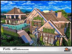 Villa Siriwanna by Autaki from TSR for The Sims 4 Sims 3, Lotes The Sims 4, Sims Love, Sims 4 Mods, Sims 4 House Plans, Sims 4 House Building, Villa, Film Manga, Sims Free Play