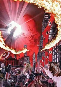 "marvel-dc-art: "" Avengers/Invaders cover by Alex Ross "" Comic Book Artists, Comic Book Characters, Comic Artist, Marvel Characters, Comic Character, Comic Books Art, Superhero Villains, Marvel Villains, Marvel Comics Art"