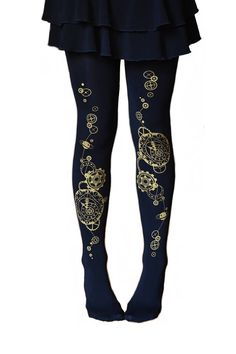 Buy Now Steampunk Custom Printed Clock Gears Tattoo Tights! Vintage Spandex Footed Seamless Leggings Opaque Steam Punk Black & Gold Astrological by Steampunk Leggings, Steampunk Skirt, Steampunk Clock, Steampunk Clothing, Gear Tattoo, Tattoo Tights, Witch Fashion, Fashion Tights, Women's Leggings