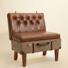 Suitcase Chair – One Seater Crackle Acorn Leather