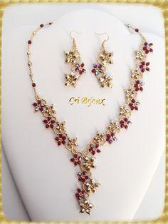 parure in vendita cascata di fiori oro fucsia