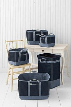 Denim Canvas Storage Would like to use heavy interfacing & make ones for the Motorhome.. Laundry & out side recycle & garbage...