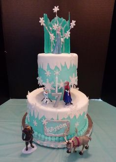You have to see Kayton's Frozen Cake on Craftsy! - Looking for cake decorating project inspiration? Check out Kayton's Frozen Cake by member GranDo. Elsa Birthday Cake, Novelty Birthday Cakes, 18th Birthday Cake, Frozen Birthday Party, Frozen Party, 2nd Birthday, Birthday Ideas, Disney Frozen Cake, Disney Cakes