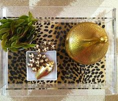 leopard lucite tray