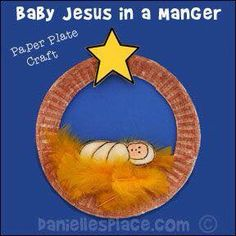 Easy Christmas Craft - - Baby Jesus in a Manger Paper Plate Craft from www., DIY and Crafts, Easy Christmas Craft - - Baby Jesus in a Manger Paper Plate Craft from www. - Copyright 2014 - Bible Craft for Preschool. Preschool Christmas Crafts, Nativity Crafts, Holiday Crafts, Preschool Bible Crafts, Christmas Crafts For Kids To Make At School, Childrens Christmas Crafts, Bible Activities, Childcare Activities, Bible Crafts For Kids