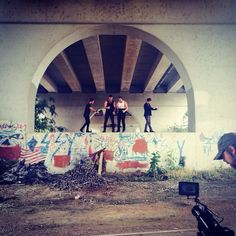 """The guys shooting their video for """"Just Fall"""" off of their new album Escape"""