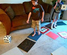 DIY Life-sized Life game.  Make using carpet samples and some creativity.