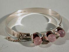 Bracelet by Kultaseppa Salovaara Finland Silver Rose Quartz