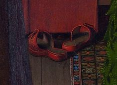c1434 Detail of the indoor cork-filled pattens from the Arnolfini Wedding Portrait, by Jan van Eyck