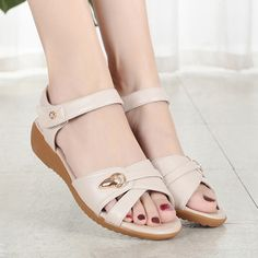 Large Size Metal Peep Toe Sandals is comfortable to wear. Shop on NewChic to see other cheap women sandals on sale. Flat Shoes, Flat Sandals, Shoes Sandals, High Heel Sneakers, Sneaker Heels, Nike Shox For Women, Girls Easter Dresses, Handmade Leather Shoes, Shoes Sport