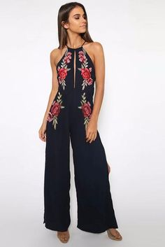 Sleeveless Crew Neck Slim Hollow Backless Embroidery Jumpsuit