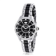 Luxurman Women's 'Galaxy' 1 1/4ct Diamond Black Analog Watch