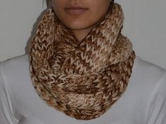 Loom knitted infinite scarf