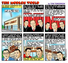 Corporations are religious people by Tom Tomorrow | Comics at Daily Kos - {hobby lobby, birth control, corporations}