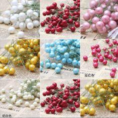 1cm 10pcs/lot Plastic Pearl Stamen Bouquet artificial flower for home Garden wedding Car corsage decoration crafts plants