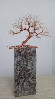 Wire Art Sculpture, Tree Sculpture, Sculptures, Tree Wall Art, Tree Art, Copper Wire Art, Bonsai Wire, Model Tree, Wire Trees