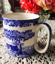 Spode Blue Italian mug - part of Carolina Jewel's Spode tablescape.