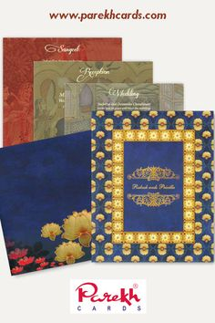 This Royal Blue Lotus invitation card is made out Fine quality Matt finish Paper Board with matching mailing envelope. Card front has a digital printed Lotus design with gold foil. Gold plated names paste-up on front customizable as per couple's name. Insert too is digitally printed with traditional royal theme.
