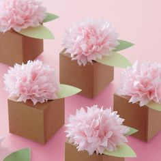 Set 6 Geschenkboxen Pom Pom braun rosa Hochzeit Kartonage Schachtel Gastgeschenk