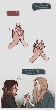 Smol hands by lesly-oh on DeviantArt Cute Lesbian Couples, Lesbian Art, Gay Art, Pretty Art, Cute Art, Character Inspiration, Character Art, Cute Comics, Anime Comics