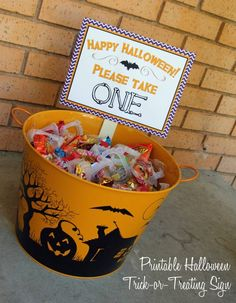 Halloween Please Take One Sign -- Good for when you're not home on Halloween or you don't want trick-or-treaters waking a baby/make dogs bark